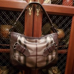 Burberry Smoked Check Buckle Hobo Bag